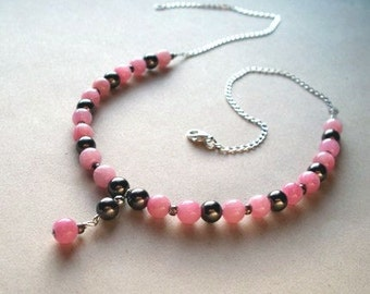 SALE - Cherry Cola - A Beaded Pink and Brown Glass Necklace