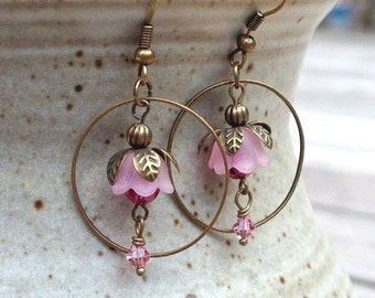 SALE - Ballerina Blossoms - Crystal and Flower Earrings