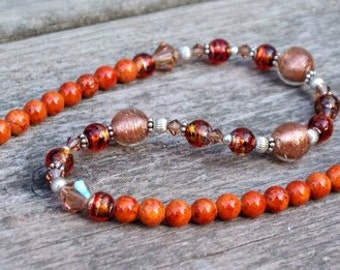 SALE-  Fire From Within  - Beaded Necklace