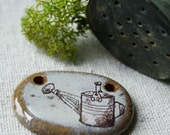 Vintage Watering Can- illustrated ceramic focal pendant