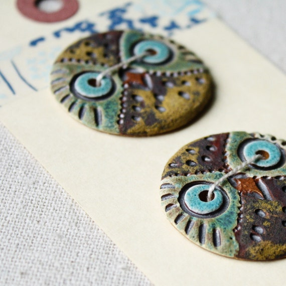 Carved Owl Buttons- ceramic