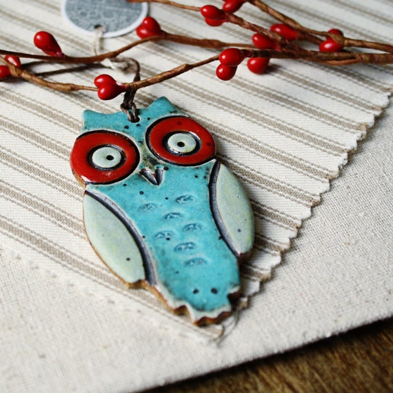Handmade Christmas ornament- Owl- aqua and red- LAST ONE