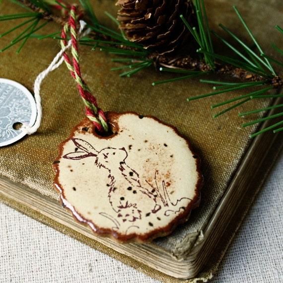 FREE SHIPPING- Handmade ceramic Christmas ornament- rabbit