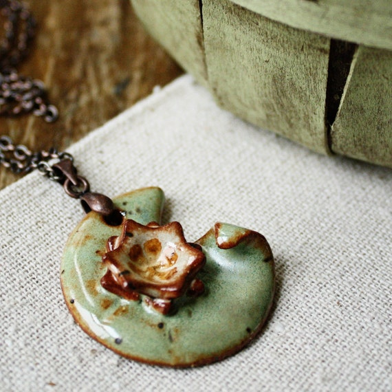Monet inspired- ceramic lily pad necklace