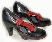 1920s Red and Black Leather Flapper Shoes