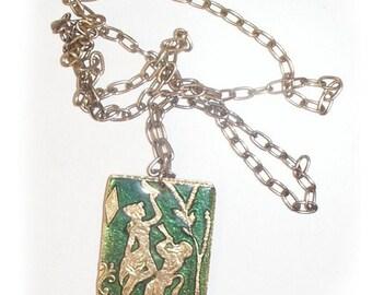 Mid Century Mod Chain Necklace with Enamel Pendant SALE