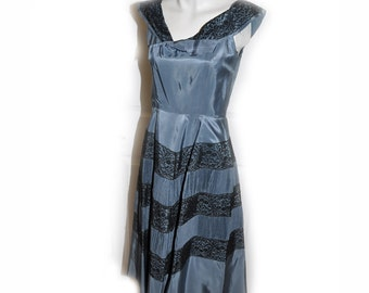 Vintage 1950s Slate Grey Pleated Lace Dress Small