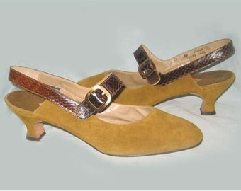 Early 1960's Vintage Suede and Reptile T-Strap Shoes