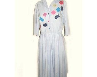 1950's Morlove Travel Novelty Shirtwaist Dress B38 W26