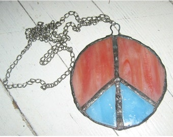 Vintage 1960's Stained Glass Peace Sign Hippie Necklace