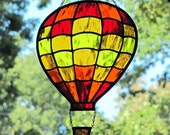 Stained Glass Hot Air Balloon Sunny Bright Colors