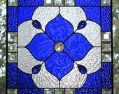 Cobalt Blue Stained Glass Beveled Panel Geometric Design--Reserved