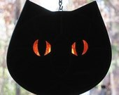 Stained Glass Black Cat Face Suncatcher with Orange Eyes