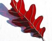 Large Stained Glass Oak Leaf Suncatcher Ornament