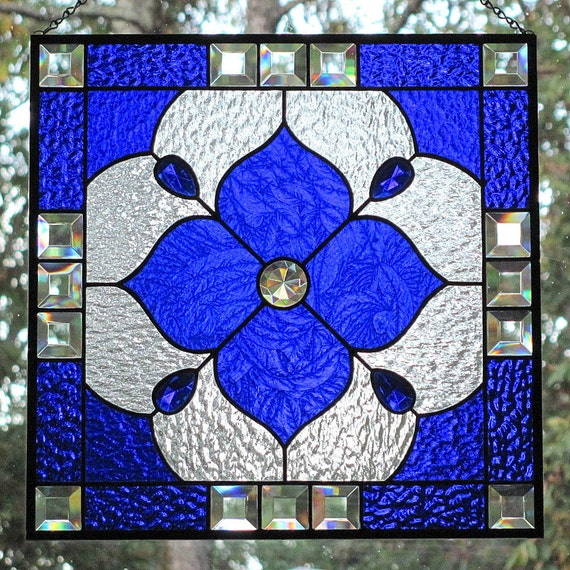 Cobalt Blue Stained Glass Beveled Panel Geometric