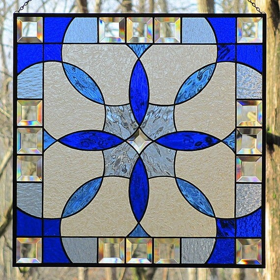 Shades of Blue Stained Glass Beveled Hanging Panel