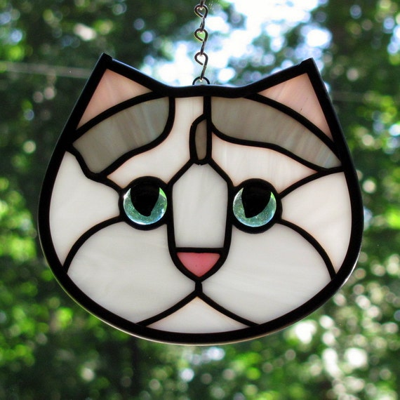 Stained Glass White and Gray Boo Boo Kitty Cat Face Suncatcher