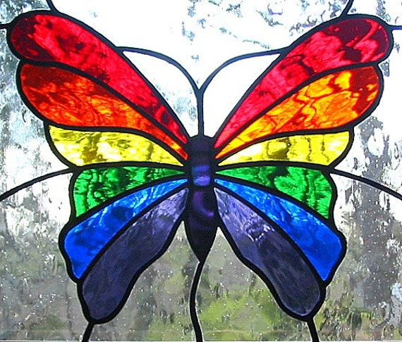 Rainbow Butterfly Stained Glass Hanging Window Panel