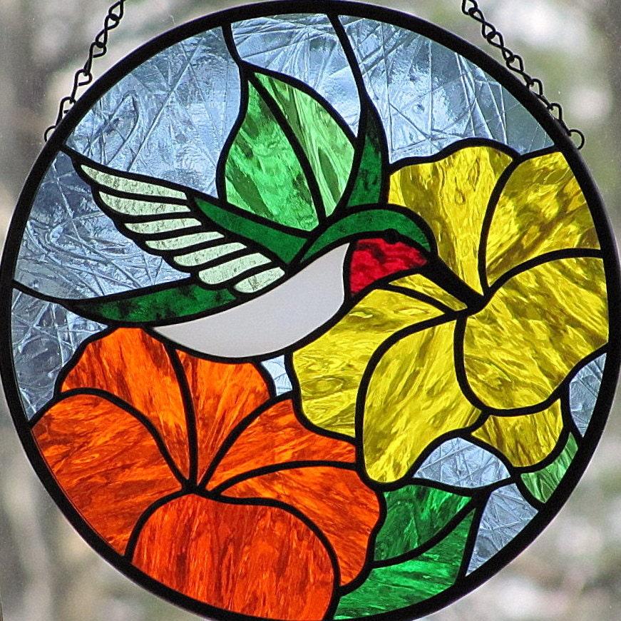 Stained Glass Hummingbird Round Suncatcher Orange Yellow