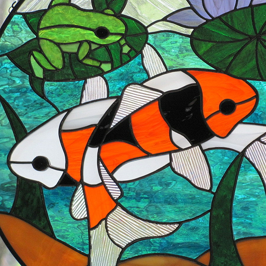Orange black white koi fish stained glass suncatcher for Stained glass fish patterns