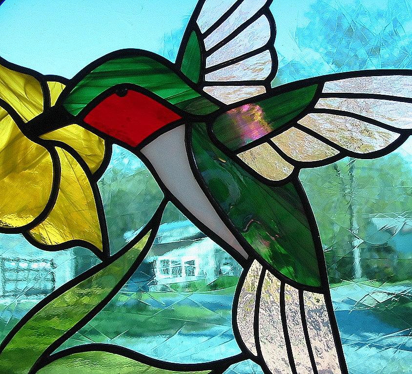 Ruby Throated Hummingbird Round Stained Glass Suncatcher