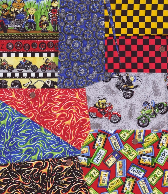 For Stephanie Biker Bugz Funky Half Yard Collection Quilt