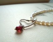 Garnet Heart Necklace Pearl Jewelry January Birthstone Valentine Jewelry Holiday Heart Jewelry OOAK - True Love