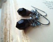 Black Vintage Glass Holiday Earrings - Magie Noire. Teardrop Blue Crystal Sterling Silver Wire Wrapped Holiday Jewelry Gifts Under 50