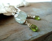 Mermaid Earrings- Aquamarine Peridot Sterling Silver Wire Wrapped March August Birthstone Jewelry Beachy Gifts Under 60 Gemstone
