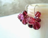 SALE Raspberry Cluster Earrings Garnet Pearl January Birthstone Valentine Jewelry Holiday Jewelry Winter Weddings Bridesmaid Jewelry