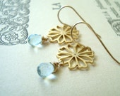 Gold Daisy and Blue Topaz Earrings December Birthstone Jewelry Bridal Jewelry Spring Flower Jewelry