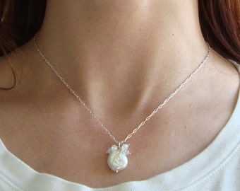 White Coin Pearl and Crystal Necklace Bridal Jewelry June Birthstone Crystal Jewelry Cluster Necklace Weddings Gifts Under 50