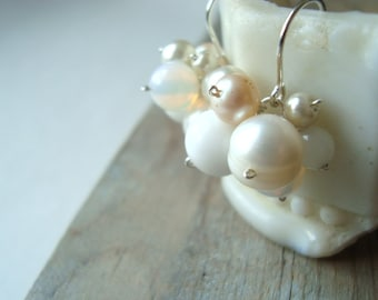 SALE White Cluster Bridal Earrings Pearl Jewelry Wedding Jewelry Shabby Chic Bridal Jewelry Old Fashioned Weddings