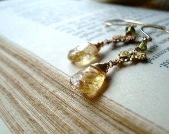 Citrine Earrings - Reverie. Vintage Style Brass November Birthstone Citrine Jewelry Gemstone Jewelry Art Nouveau Gold Gifts Under 50