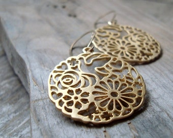 Gold Asian Floral Earrings Metalworked Holiday Jewelry Gifts Under 30 Gold Earrings Disc Earrings Large Dangles Gifts For Her
