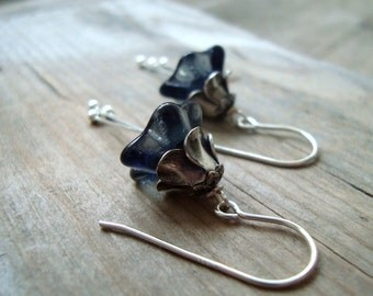 Stormy Blossoms Earrings Montana Blue Silver Holiday Jewelry Bridal Jewelry Bridesmaid Jewelry London Blue Flower Jewelry Floral Gifts