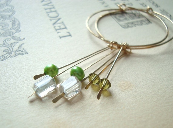 VALENTINES SALE Organic Gold Hoops Aquamarine Lime Crystal Green Pearl Metalworked Spring Fashion - Forest