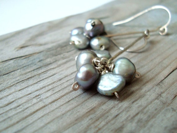 SALE Gray Pearl Cluster Earrings - Morning Mist. Sterling Silver Metalworked Pearl Jewelry June Birthstone Long Dangles Gifts Under 40