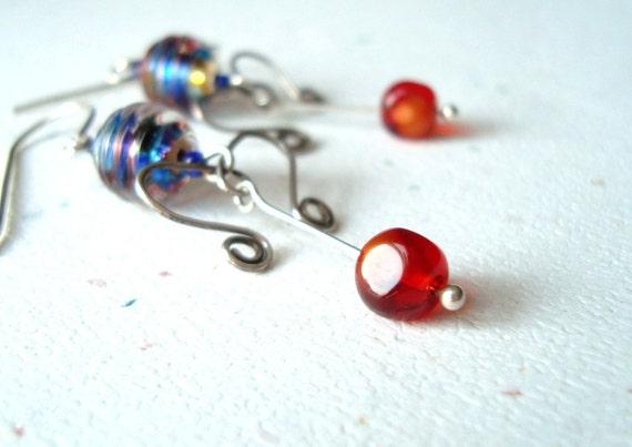 Rainbow Vintage Glass Sterling Silver Earrings - Fiesta