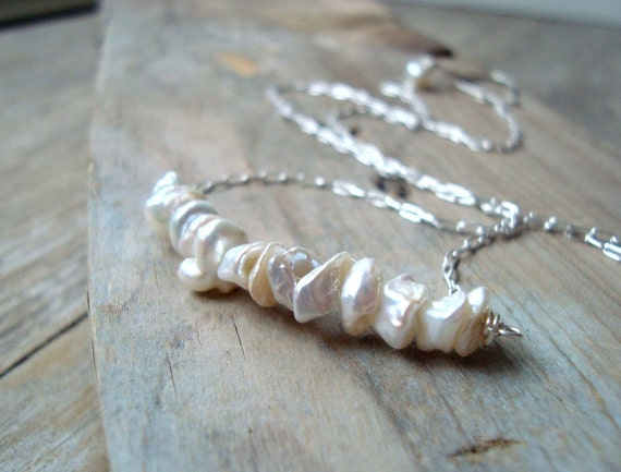 White Keshi Pearl Necklace June Birthstone Bridal Jewelry Summer Fashion Pearl Jewelry Mothers Day Gifts Under 50