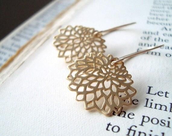 SALE Gold Chrysanthemum Earrings Gold Metalwork Simple Modern Flower Jewelry Asian Style Zen Gifts Under 40 Long Dangles Floral Earrings