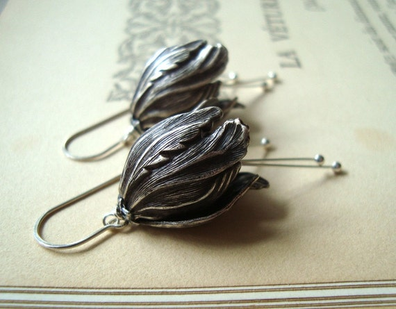 Silver Tulip Flower Earrings Flower Jewelry Fall Fashion Holiday Jewelry Spring Fashion Art Nouveau  Gifts Under 40 Floral Jewelry