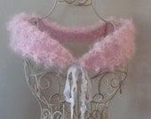 Pink Popcorn Shawl Boa Fur Mini Stole Italian Yarn Teen Juniors Misses