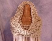 Oatmeal Womens Crochet Snood Cape Cowl Camel Tan Neck warmer Womens