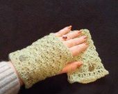 Green Tea Cashmere Fingerless Lace Gloves Cuff Wrap Chinese Coins