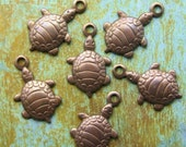 Turtle Charms - 6 pcs - Tiny Antiqued Brass Charms - Nautical - Beach Charms - Patina Queen