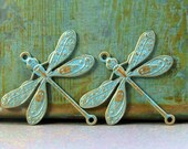 Dragonfly Connector Brass Charms - Shabby Chic Collection - Sky Blue - Patina Queen - 2