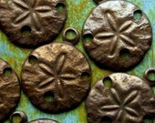Sand Dollar Charms - 6 pcs - Teenie Tiny Antiqued Brass Charms - Nautical Shell Charms - Patina Queen