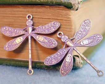 Dragonfly Connector Charms - 2 pcs - Brass Dragonfly - Lavender - Patina - Patina Queen
