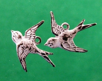 Brass Bird Charms - 2 pcs - Aged White Patina - Patina Queen